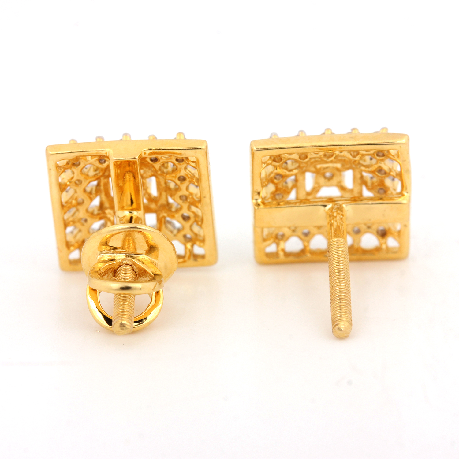 Square Shaped Gold Earring