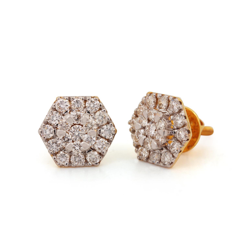 Hexagon Faceted Earring