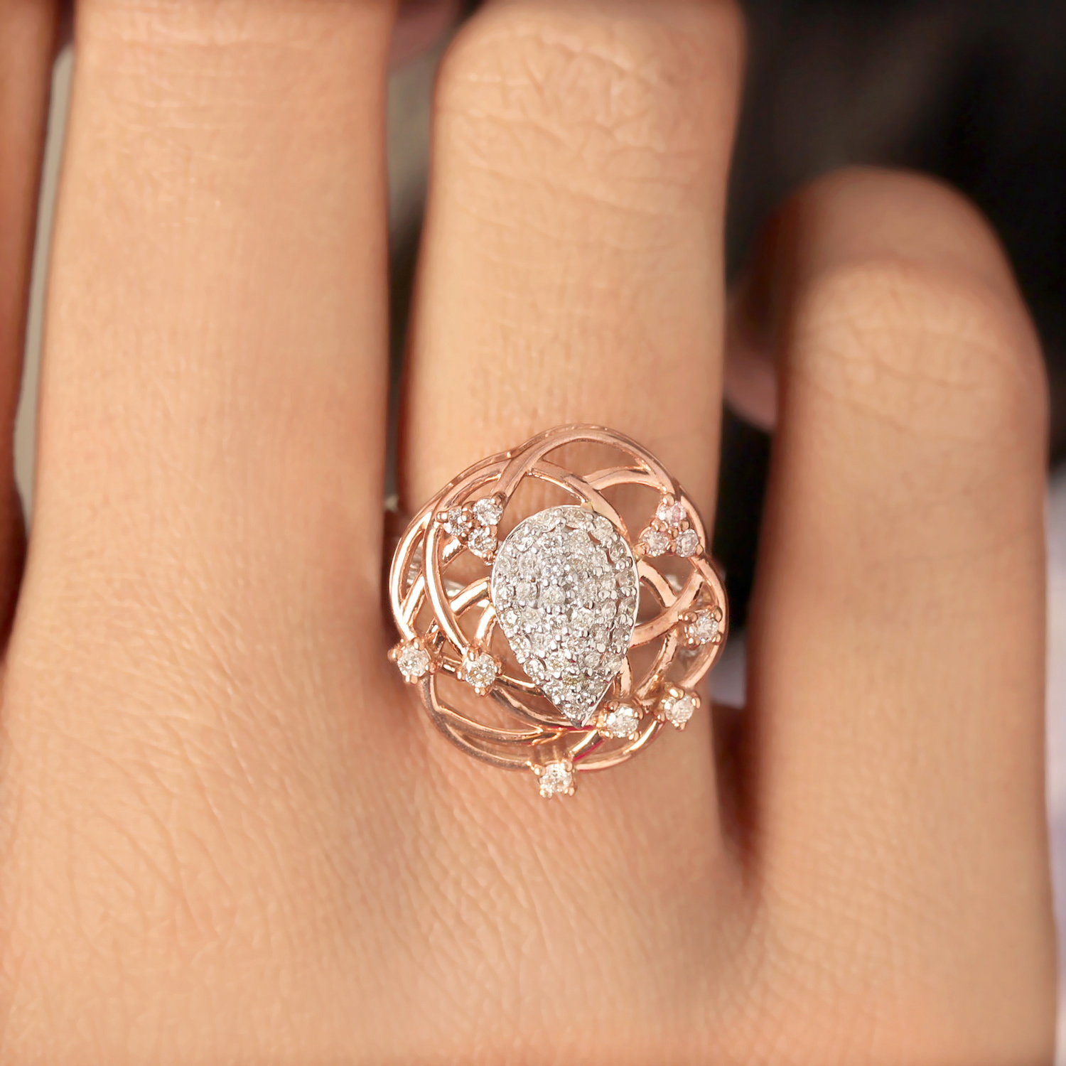 Diamond In Rose And White Gold