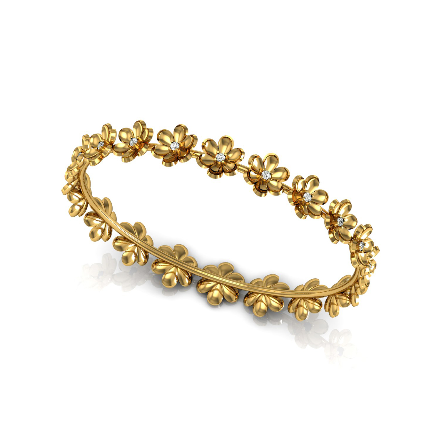 Flower Faceted Solid Bangle With Diamond