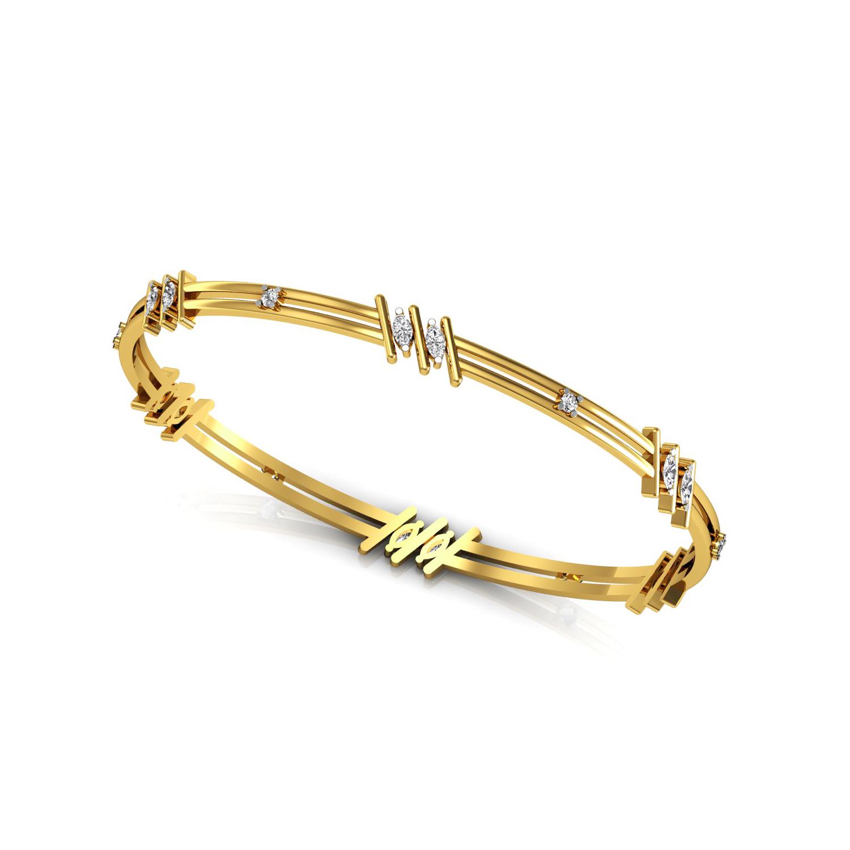 Beautiful Gold Bangle with Diamond
