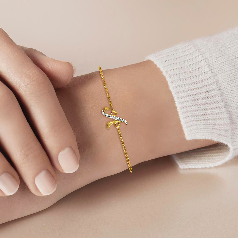 Gold Bracelet With Pearl & Diamond Balls