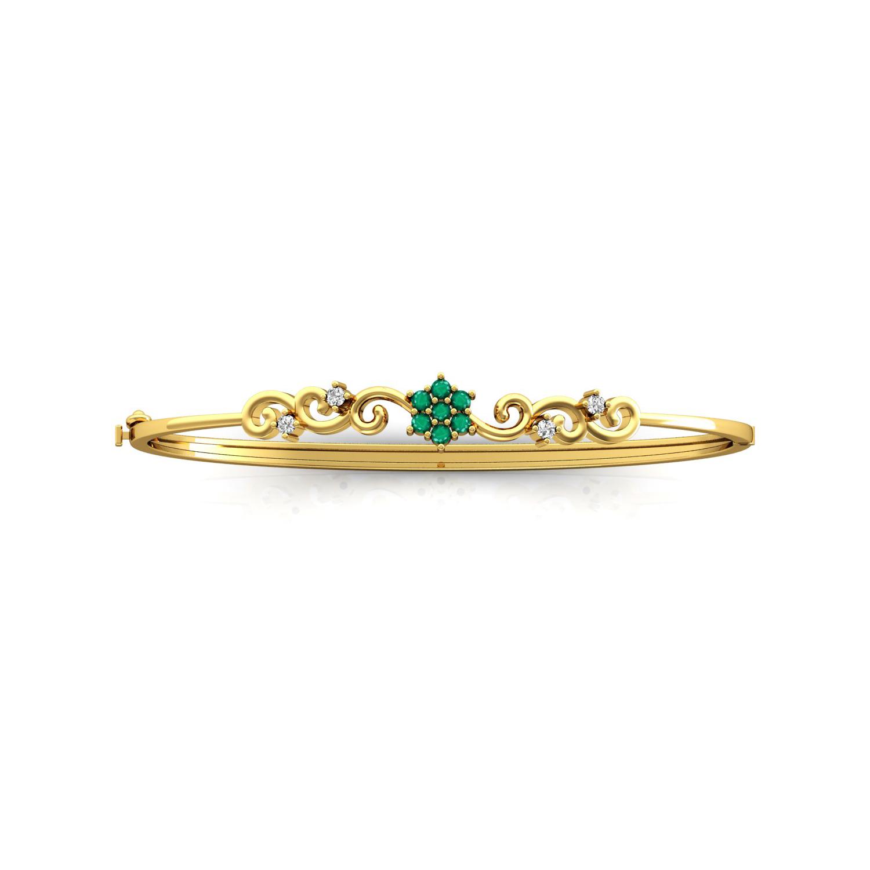 Diamond & Emerald Bracelet in Flower Design