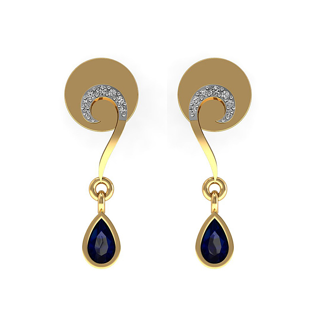Blue Supphire in Diamond Earring