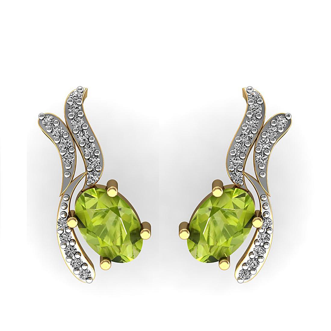 Peridot  & Diamond Earring