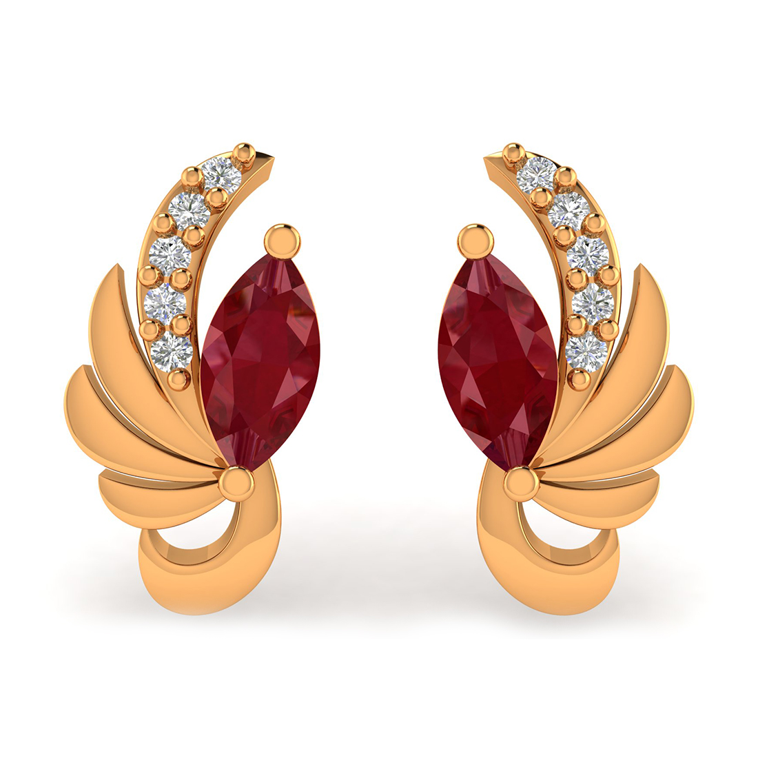 Gorgeous Diamond & Ruby Earring