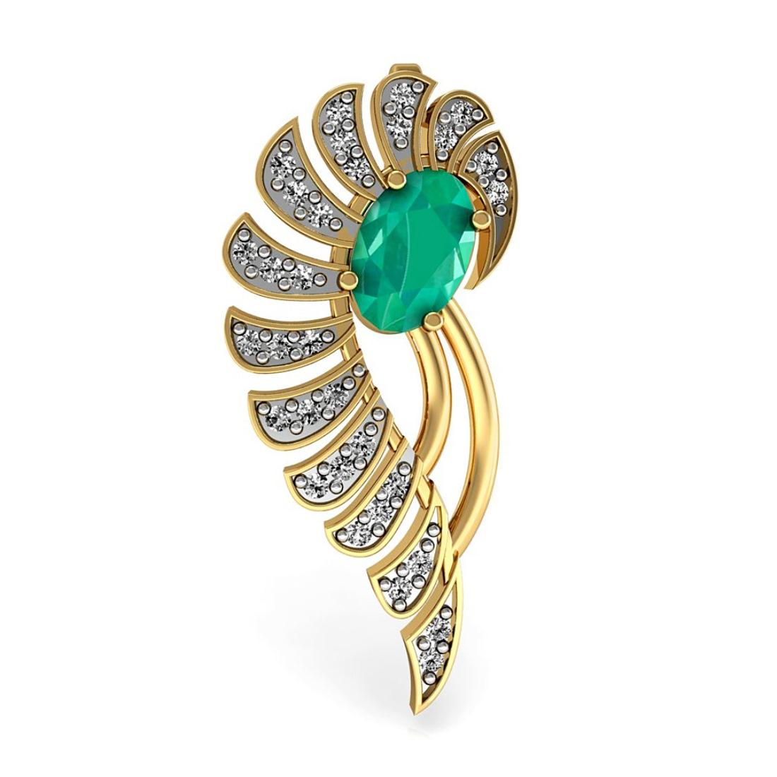 Diamond Pendant with Emeralds
