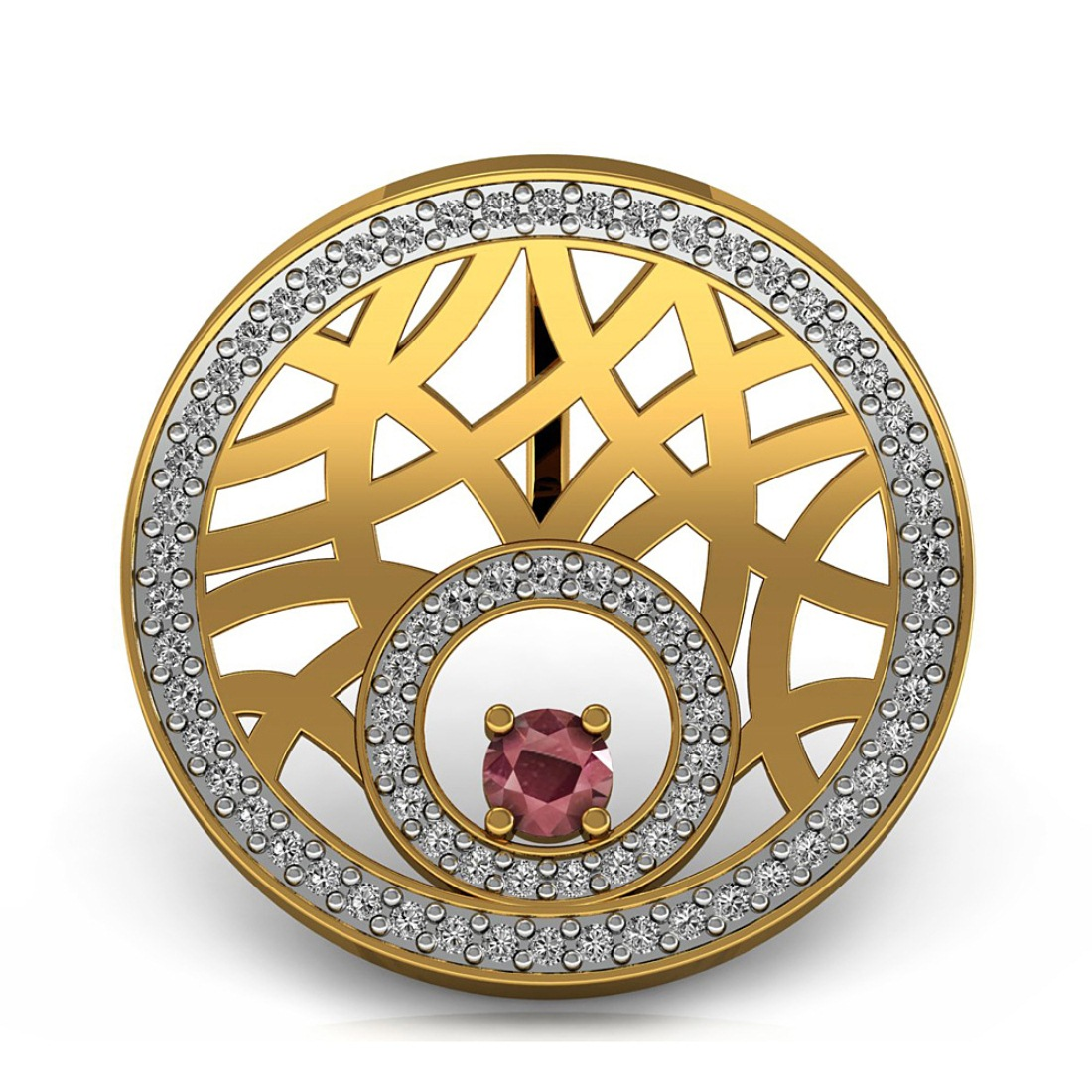 Gold Pendant with Diamond & Ruby