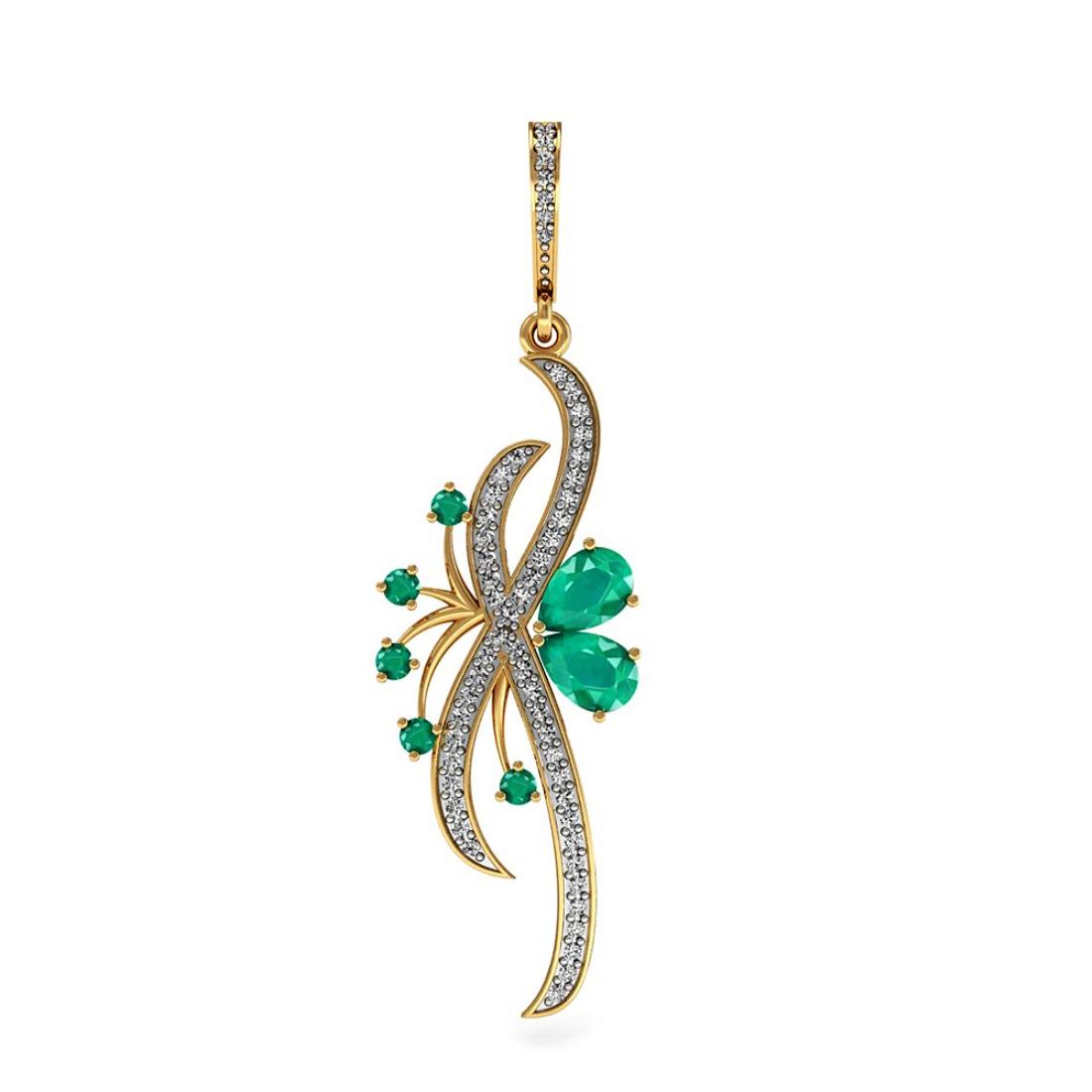 Beautiful Diamond & Emeralds Pendant