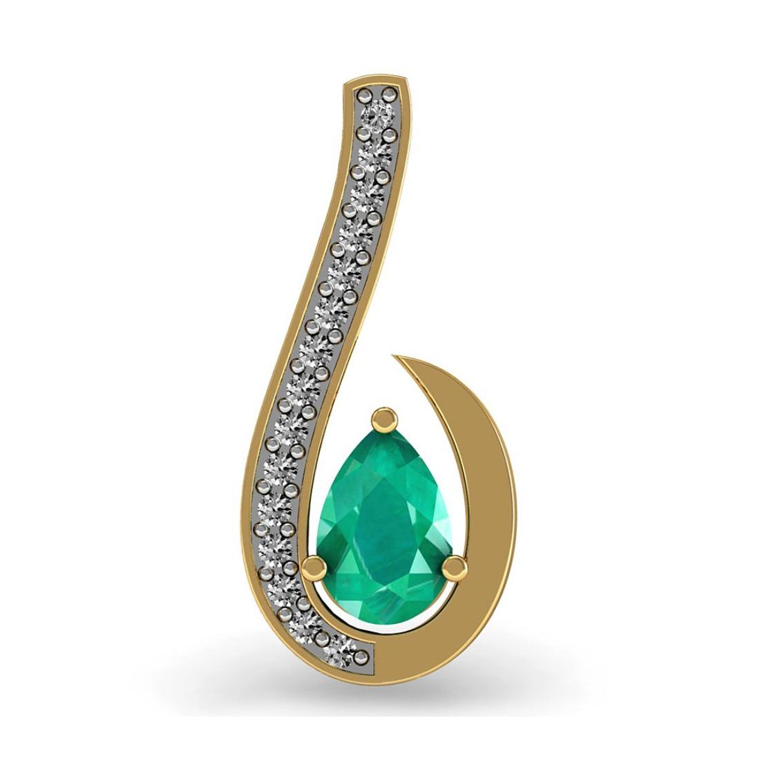Pear Emerald in Diamond Pendant