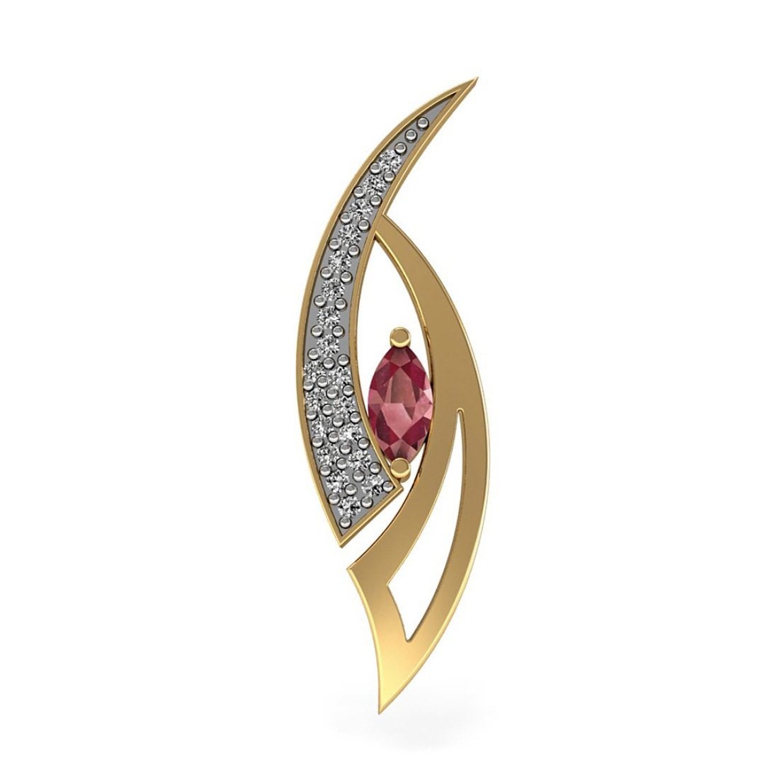 Diamond Pendant with Marquise Ruby
