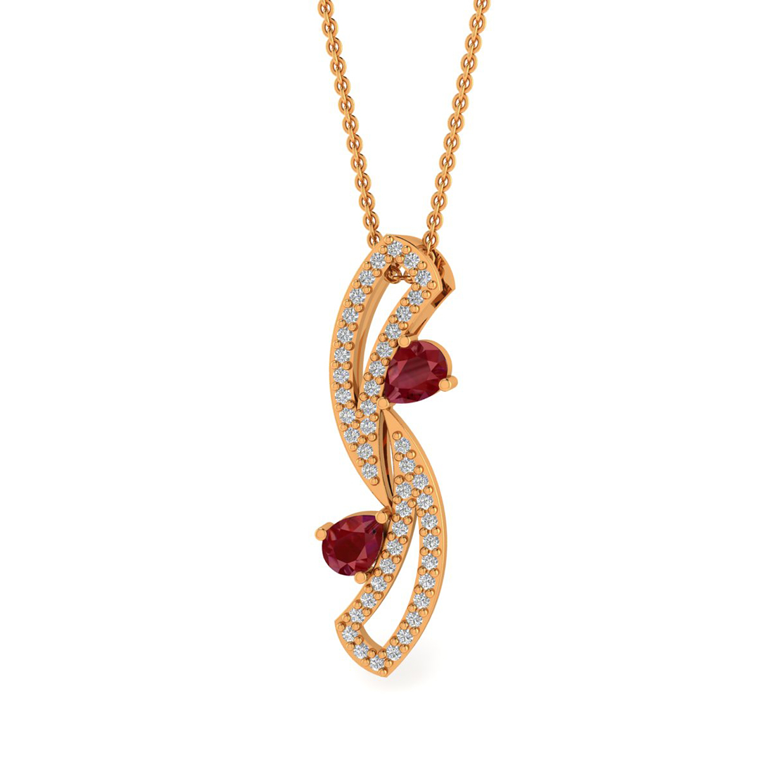 Diamond Pendent With Ruby