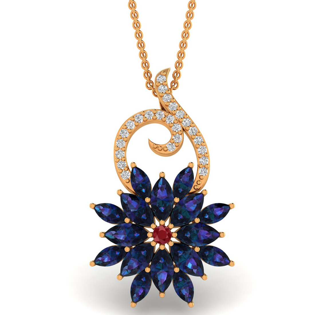 Diamond Pendant with Ruby & Blue Sapphire