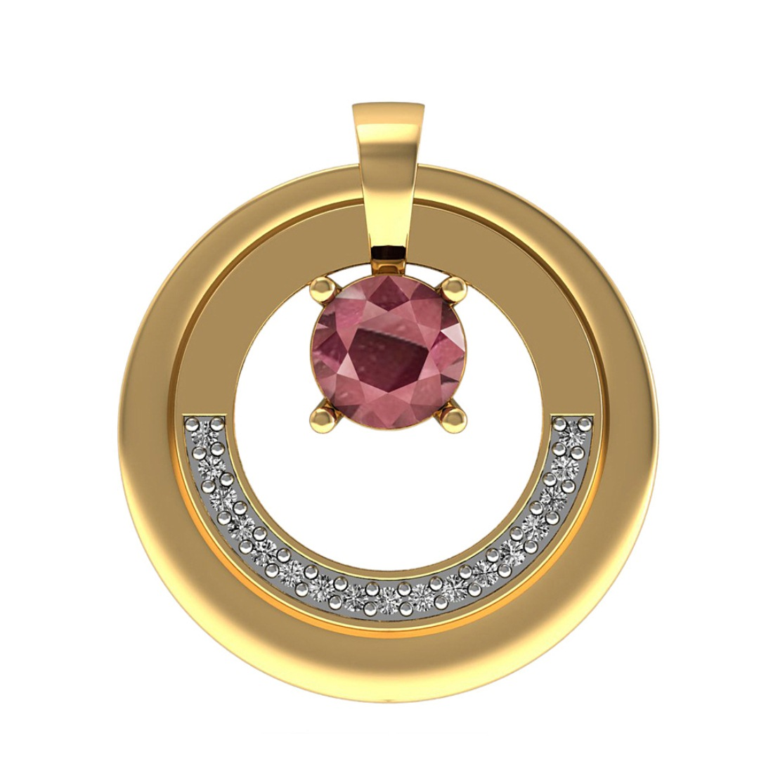 Diamond Pendant with Ruby