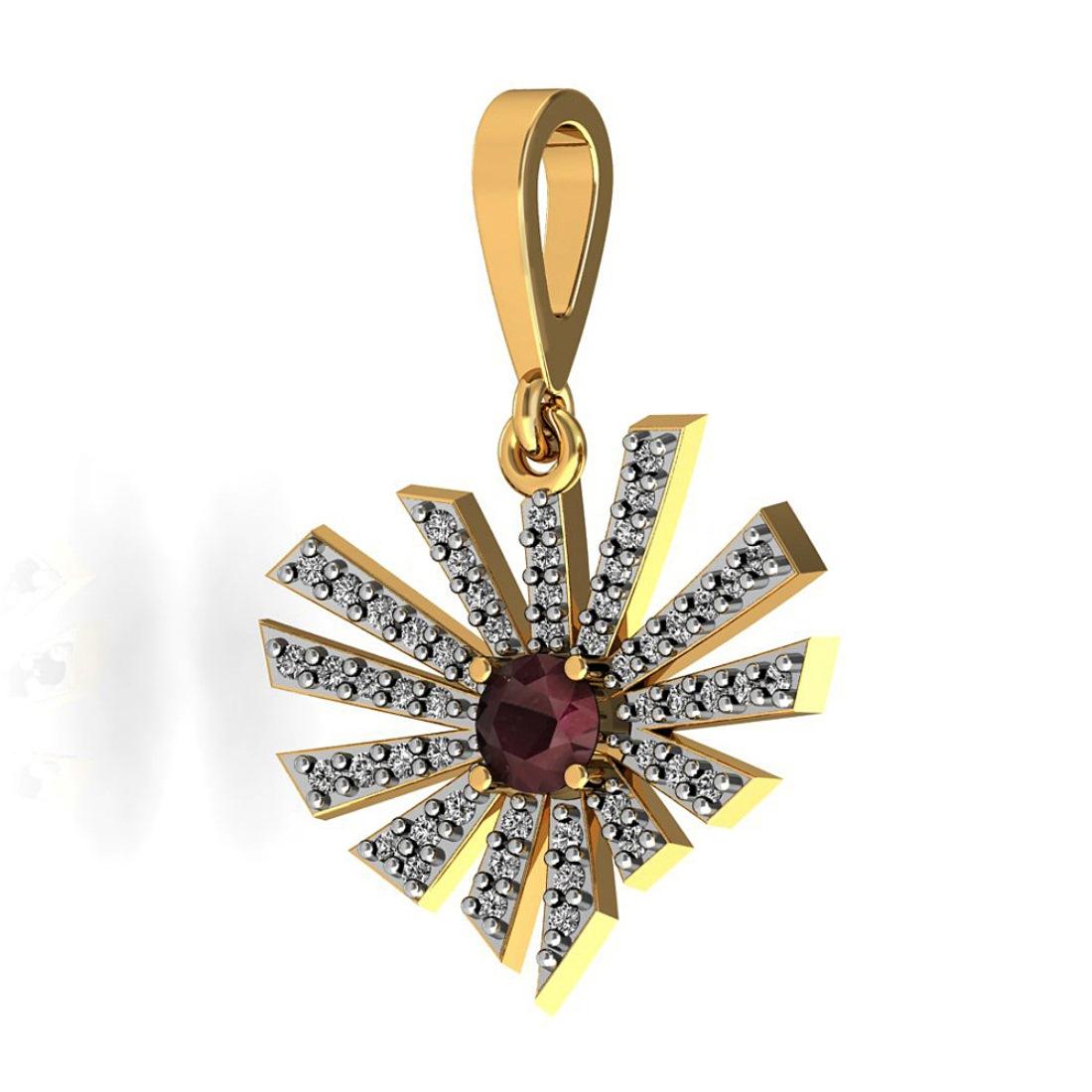 Unique Diamond Pendant With Ruby