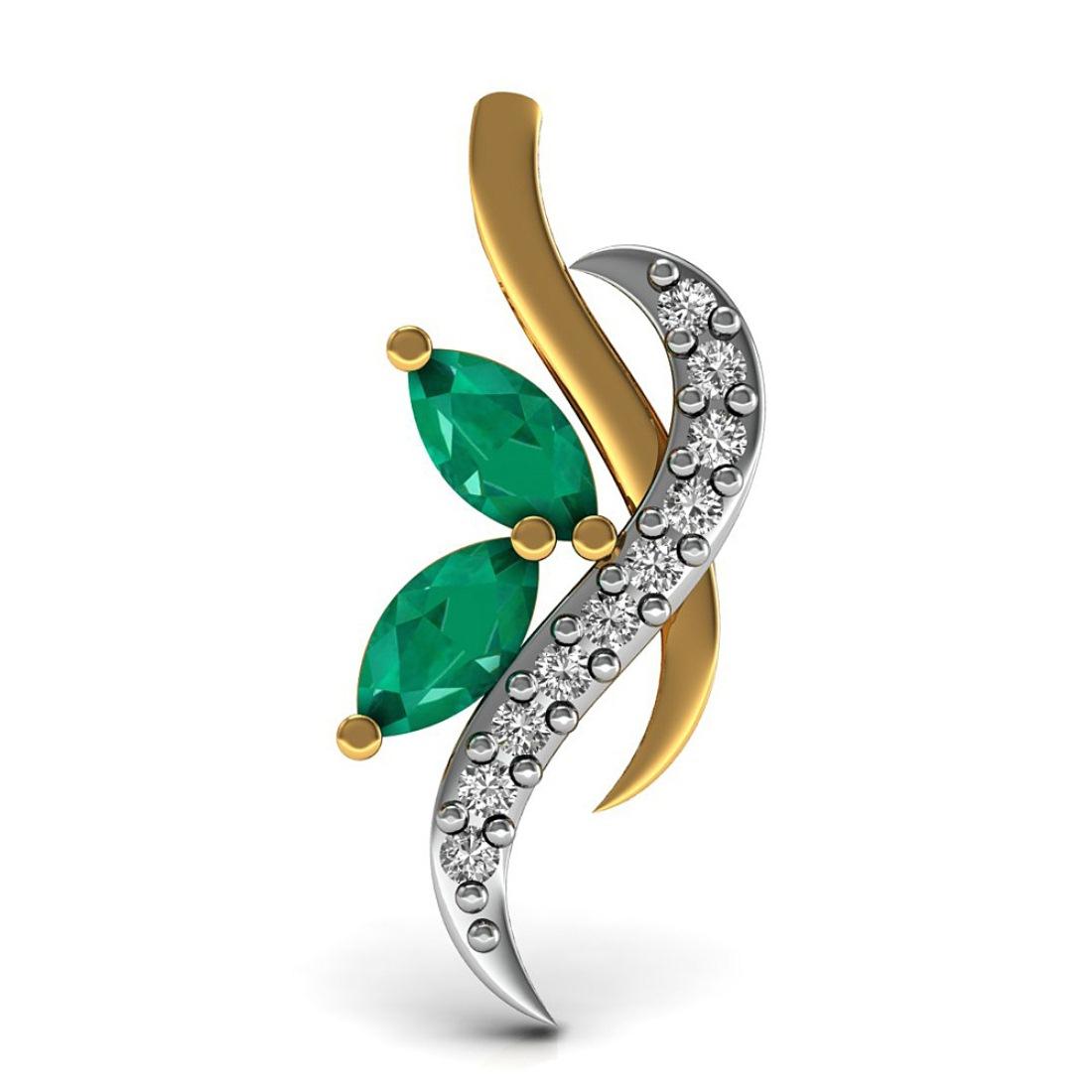 Emerald in Daimond Pendant